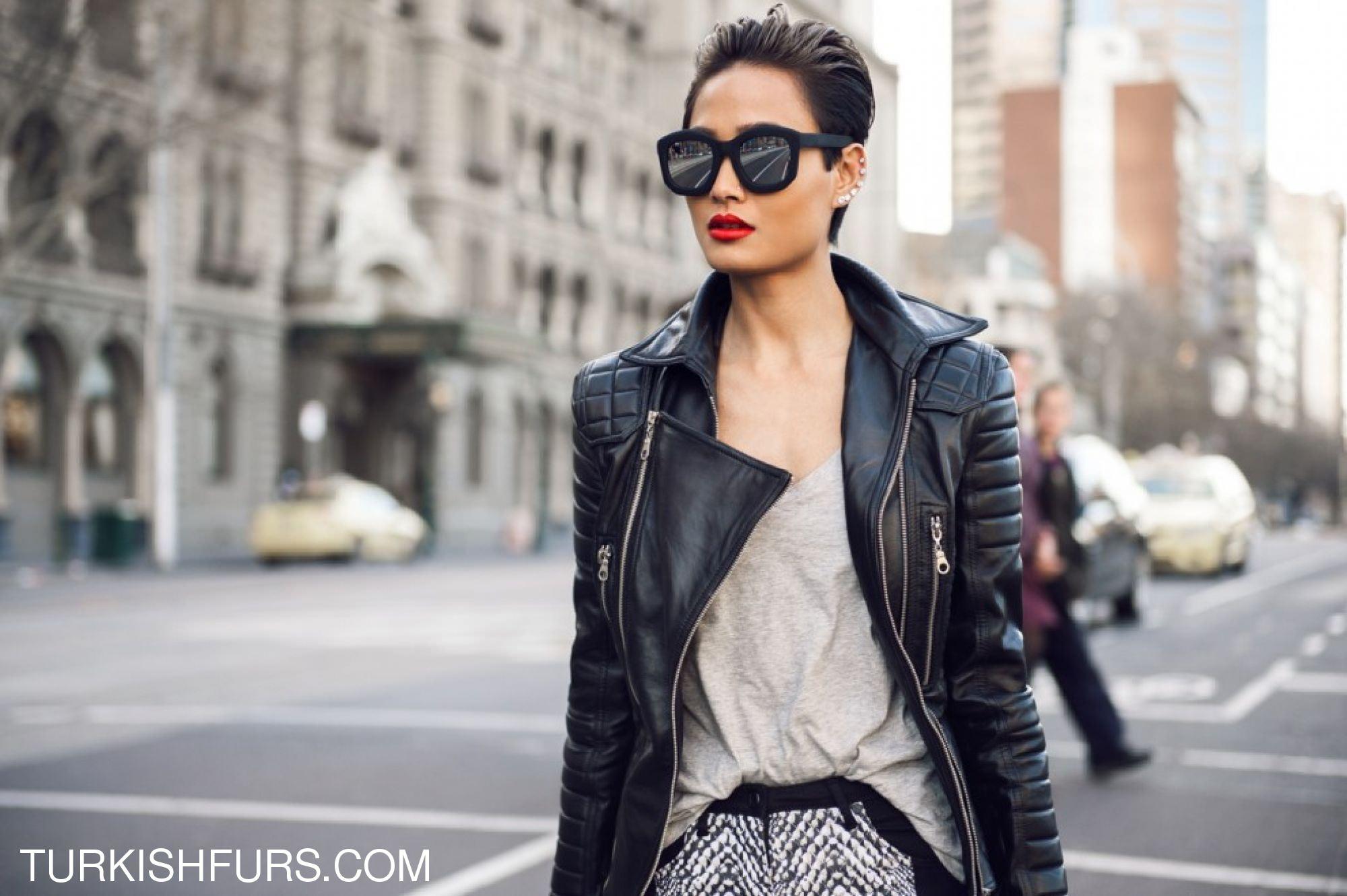Модные кожаные куртки осень 2018 женские фото 8